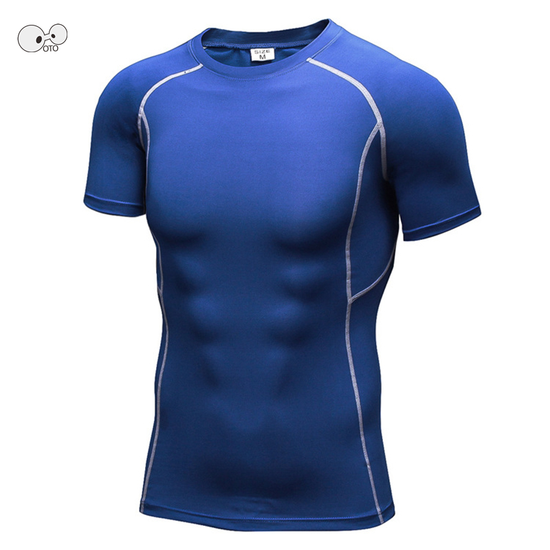 Men Pro Compression Skin Tight T-shirt High Elastic Quick Dry Wicking Sports Running Fitness Short Sleeve Shirts MMA Rashguard