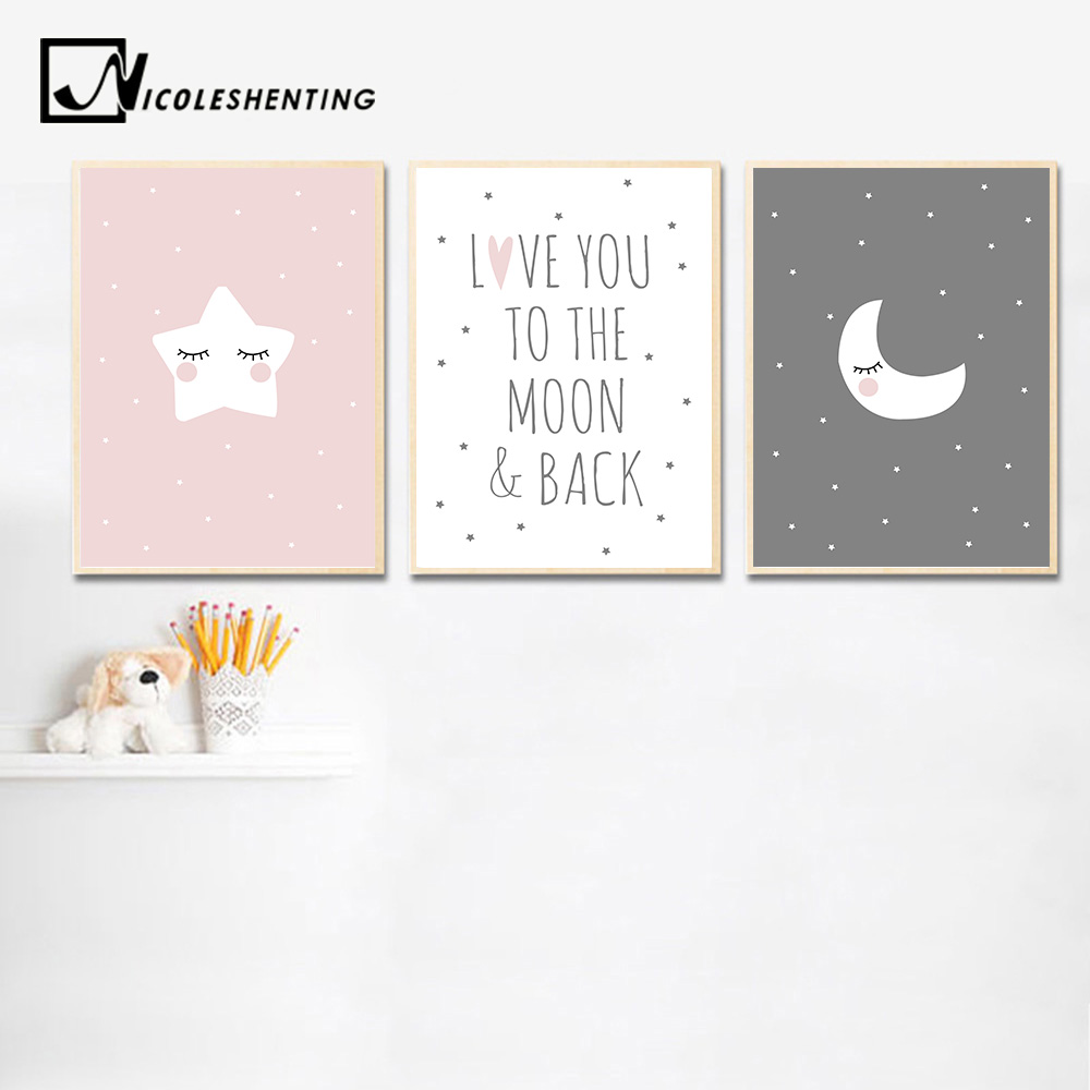 Cute Moon Star Baby Nursery Wall Art Canvas Posters Prints Cartoon Painting Nordic Kids Decoration Picture Baby Bedroom Decor