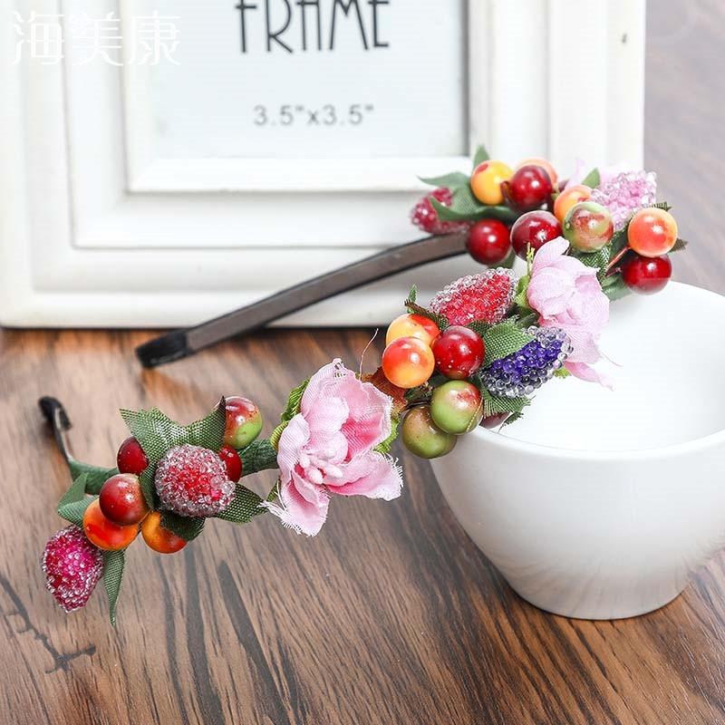 Haimeikang Sweet Bezel Glass Beads Flowers Wreath Fruit Headband Women Party Bridal Hair Accessories Floral Girls Headwear