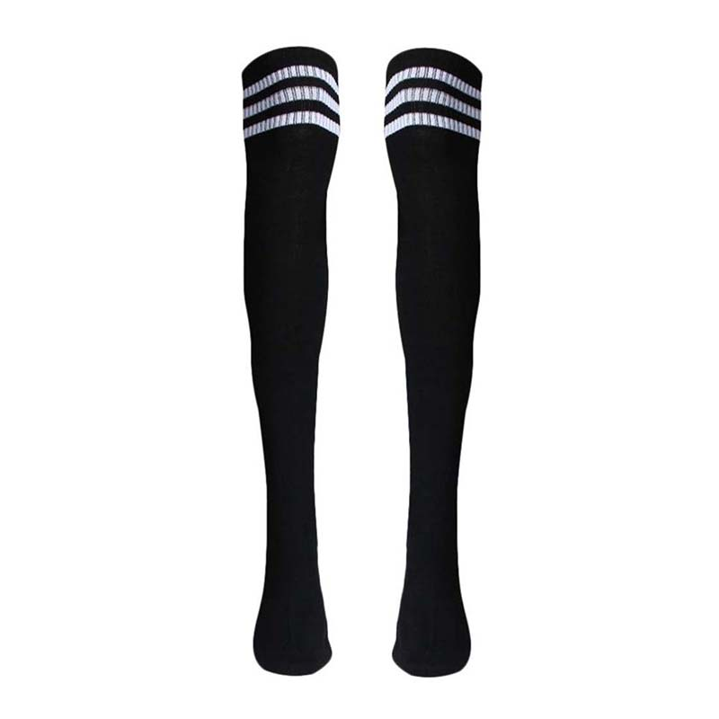 1 Pair Thigh High Socks Over Knee Girls Football Socks (Black) ...