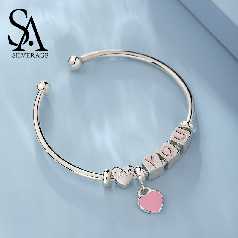 SA SILVERAGE Bracelet Silver Buckle Snake Chain Bangles YOU 2019 S925 Sterling Silver Bracelet Fit Jewelry Women Jewelery Gifts in Bracelets Bangles from Jewelry Accessories