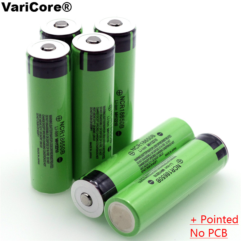 VariCore 100% New Original <font><b>18650</b></font> <font><b>NCR18650B</b></font> 3400mAh 3.7V Li-ion Rechargeable battery with Pointed(No PCB) batteries image