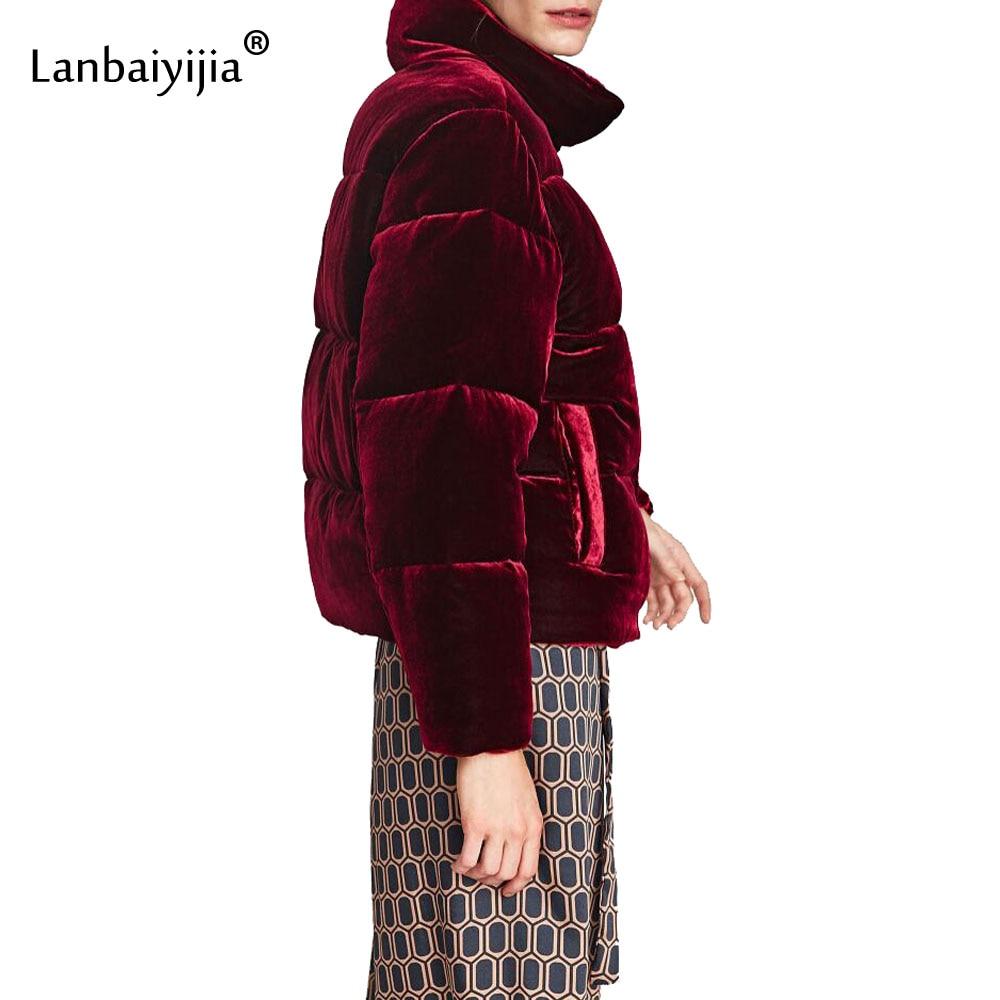 Lanbaiyijia Newest Women Velvet Coat Jacket Winter Warm Zipper Pockets Long Sleeve Overcoat Women Outerwear Puffer Jacket Padded