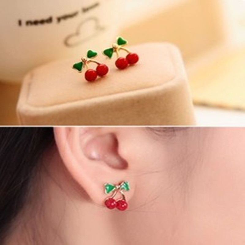 2019 hot cheap New style Free shipping Jewellery Wholesale Fashion Retro Red Korean Style Metal Cherry Stud Earrings for women