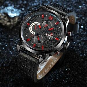 Image 3 - Naviforce Luxe Merk Man 3ATM Waterdicht Klok Mannen Analoge Quartz 24 Uur Datum Horloges Mannen Sport Lederen Horloge Original