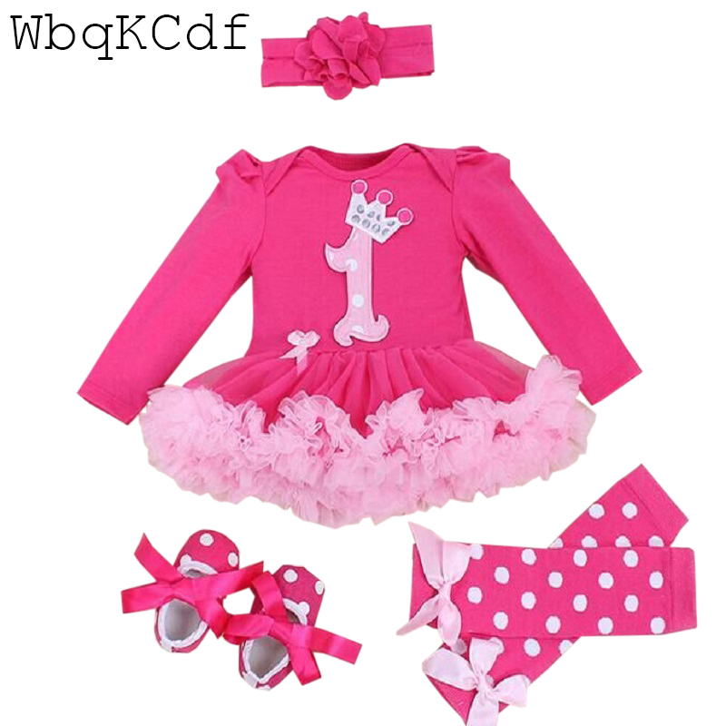 Baby Girl Clothing Set Christmas Baby Girl Lace Tutu Romper Dress Jumpersuit Headband 4PCS Set Bebes First Birthday Costumes