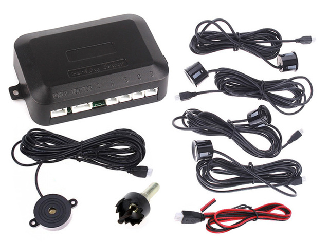 4 Sensors Buzzer 22mm Car Parking Sensor Kit Reverse Backup Radar Sound Alert Indicator Probe System 12V + Retail Box by DHL