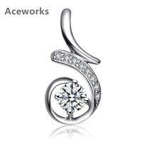 Aceworks Round CZ Zirconia 925 Sterling Silver Solid Zirconia Charm Pendants Necklace Women Top Geometric Design Noble Jewelry