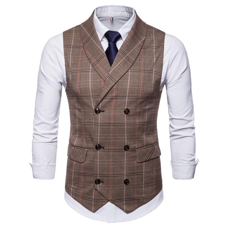 Suits Waistcoat Vest Man Slim Fit Men Classic Plaid Formal Blazer Vest Men Gilet Double Breasted Chalecos Para Hombre Plus Size in Vests from Men 39 s Clothing