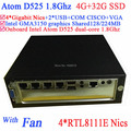 compact pc with Intel Atom D525 1.8Ghz 4 Gigabit Lan Firewall mini ITX motherboard 4-way input and output GPIO 4G RAM 32G SSD