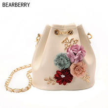 Фотография Bearberry 2017 handmade flowers bucket bags mini shoulder bags with chain  Drawstring small cross body bags pearl bags  MN591