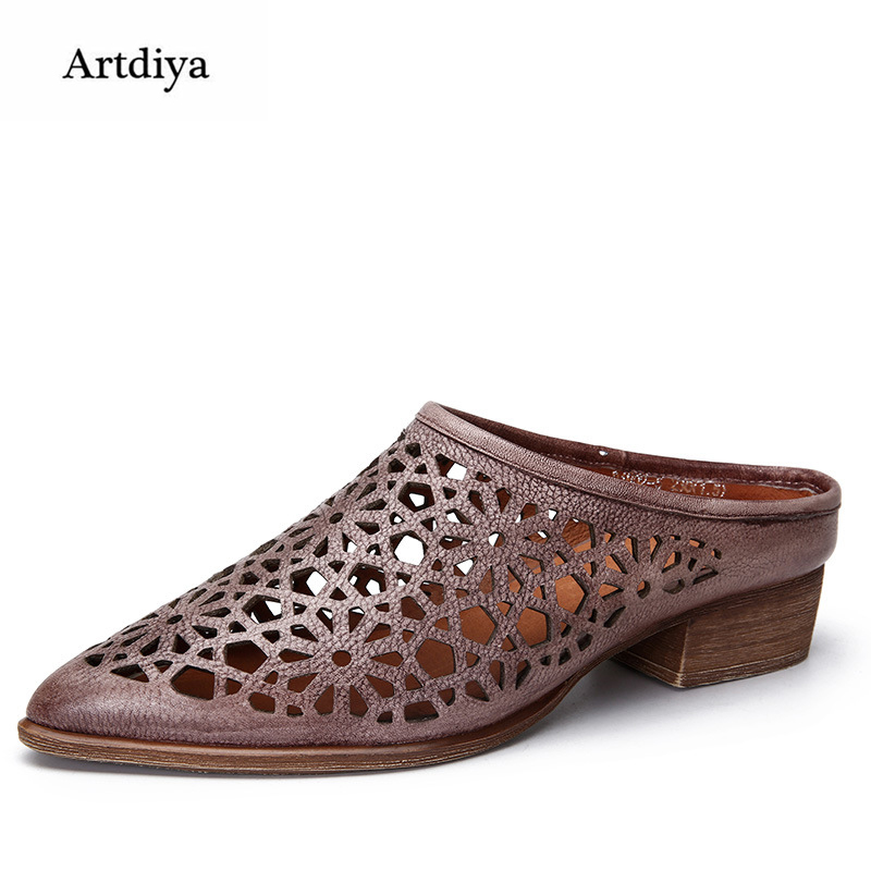 Artdiya 2018 Hollow Carve Genuine Leather Sandals Retro Pointed Toe Handmade Women Shoes Fashion Slippers D1802-5