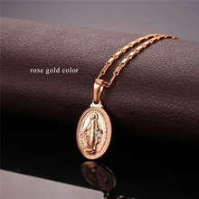 U7 Tiny Virgin Mary Necklace Pendant Christmas Gift Silver/Gold Color Christlicher Cross Medallion Women Christian Jewelry P357