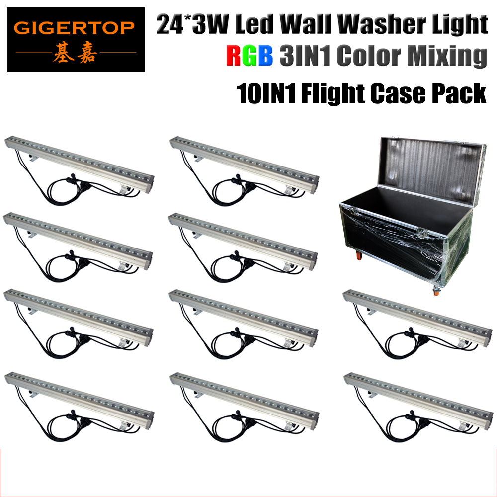 Road Case PACK 10 Unit 24x3W Tricolor RGB Led Wall Washer Light Economy Low Consumption Party/Wedding/Meeting Decorative Light