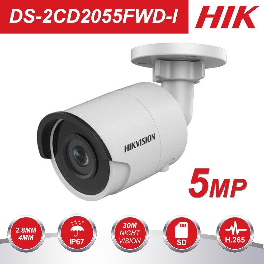 HIK HD CCTV Caméra IP PoE DS-2CD2055FWD-I 5 Mégapixels WDR Réseau Mini Bullet IP Caméra H.265 Remplacer DS-2CD2052-I