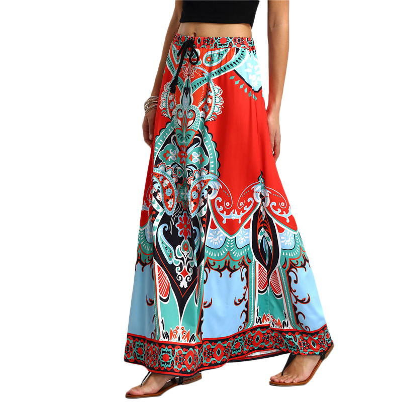 Cheshanf Long Maxi Skirt For Women New Arrival Ladies Multicolor Vintage Tribal Print Tassel Tied Waist A Line Skirt