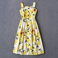 Frees Shipping 2016 Spring/Summer Yellow Lemon Prnt Shoulder Straps Short Women Dress Fashion Runway Pattern Dress Women 113008