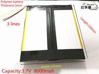 3 라인 3.7 볼트 8000 미리암페르하우어 30125150 폴리머 리튬 이온/리튬 이온 배터리 (ATL 휴대) 태블릿 pc, 전원