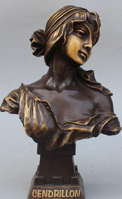 15 Китайский чисто бронзы Запад Книги по искусству Женственная Дамская обувь леди мисс Belle Голова Статуя, Бюст r0711 b0403