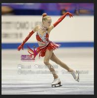 Красный на фигурных коньках платья для девочек Лидер продаж пользовательские женщин фигурное катание платье для конкурса одежда для фигур