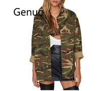Women 2019 Spring Vintage Camouflage Army Green Zipper Button Jackets Blouses Outwear Coats female Jacket Wholesale