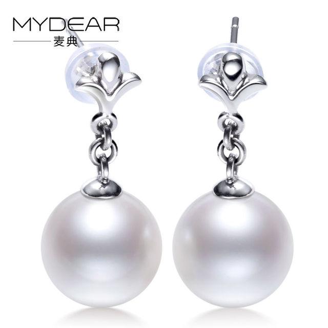 MYDEAR Pearl Jewelry The Newest Women Gold Earrings Big Cultivate Big 10-10.5mm White Freshwater Pearl Earrings Bijouterie