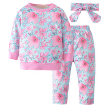 e07f164fa66b Nouveau-né de mère bébé automne bébé vêtements 3 pièce ensemble imprimé  chemise à manches longues + pantalon + foulard enfant fi.