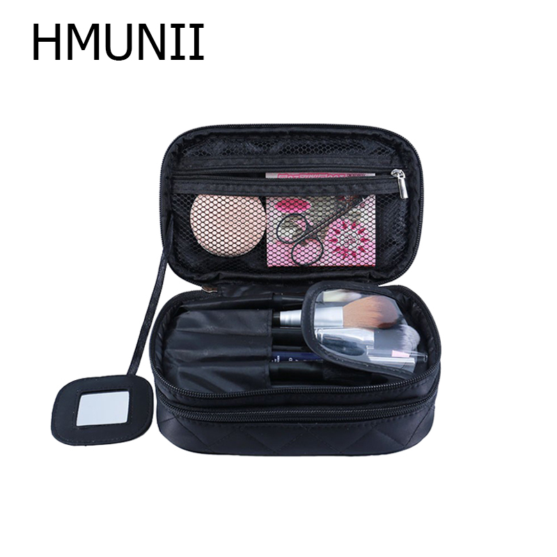 HMUNII Cosmetic Bags Makeup Bag Women Travel Toiletry Bag Professional Storage Brush Necessaries Make Up Organizer Case Beauty цена