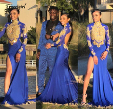 Sparkly Sequins Mermaid Long Sleeves Prom Dresses Girls Sheer High Neck African Formal Evening Dress 2019