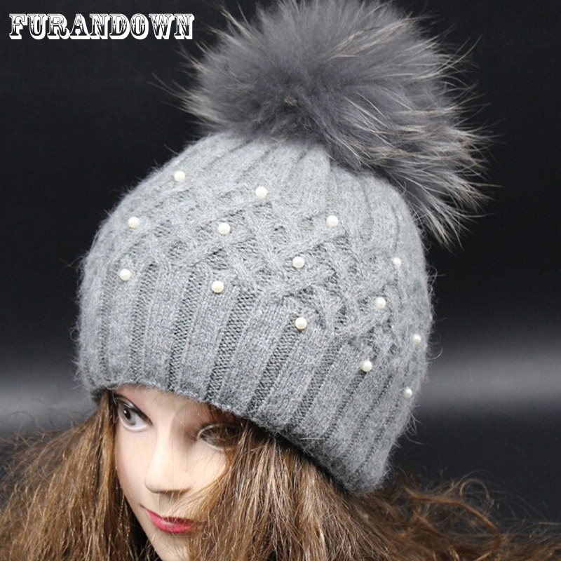 Fox Fur Pompom Hats For Women Winter Cap Cashmere Wool Knitted ...