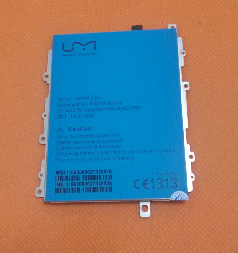 Used Original 3050mAh Battery Batterie Batterij Bateria For UMI EMAX Mini 4G LTE Snapdragon 615 Octa Core 5.0 FHD 1920x1080