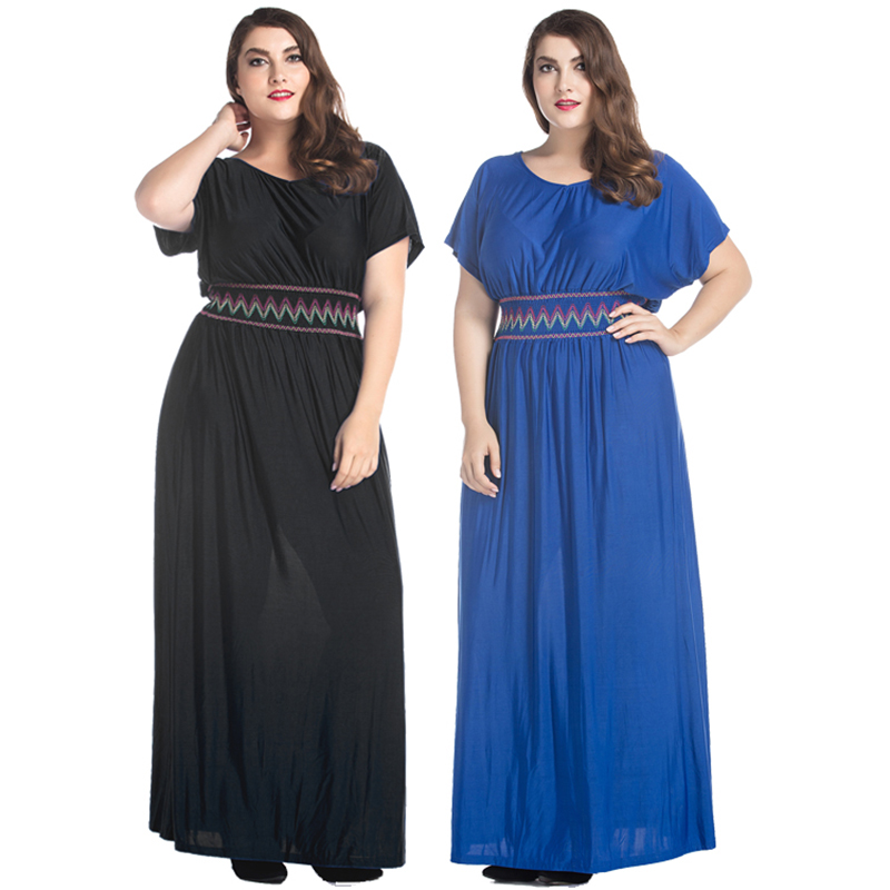 2018 Bohemian Women Summer Dress Solid Plus Size Dresses For