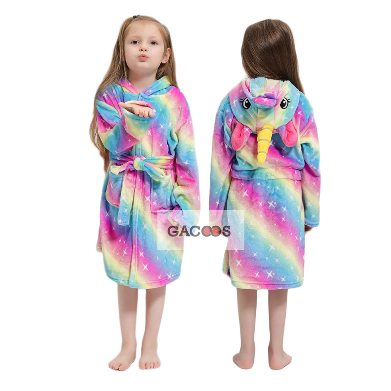 Cartoon Children's Robe Flannel Baby Bathrobe Winter Stitch Hooded Kids Bathing Suits Animal Unicorn Boy Girl Robes Kids Clothes thumbnail