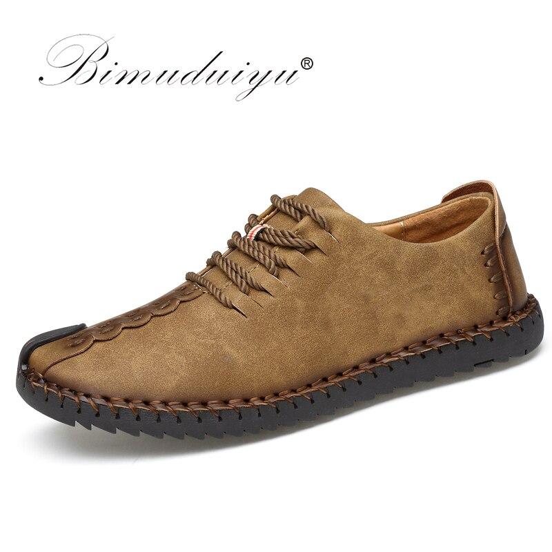 Bimuduiyu 2017 primavera moda nova super fibra de couro macio confortável masculino sapatos casuais portátil condução sapato laços apartamentos