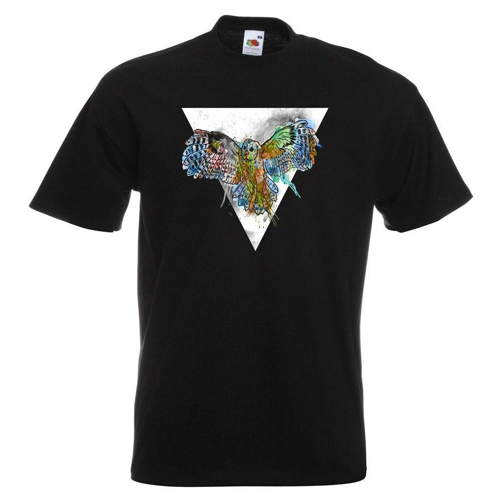 Акварель Сова Мужская футболка с принтом животных, птиц Fly Летающий пространство звезды ночь человек мода круглый воротник футболка топы, ф...