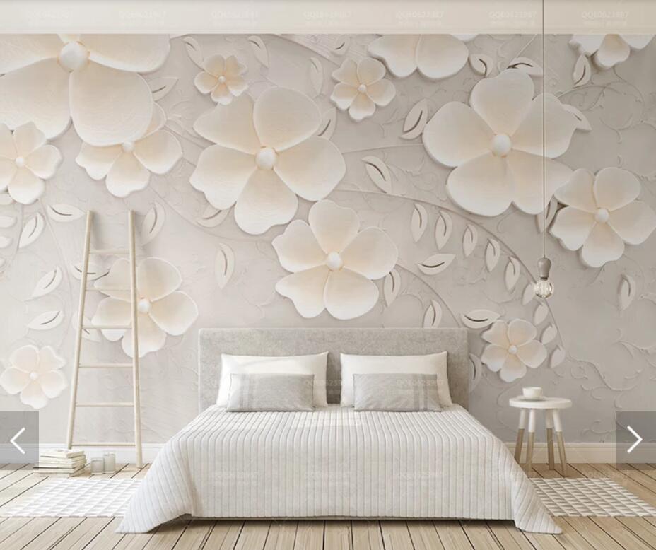 8d Embossed Flower Wall Mural Photo Wallpaper For Living Room Bedroom Backdrop Paper Decor Fl Murals Computer Hd