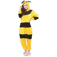 Animal Bee Costume Unisex Flannel Pajamas Adults Onesies Sleepwear Hoodie For Women Men