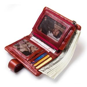 Image 2 - 뜨거운!!! 정품 가죽 여성 지갑 여성 작은 카드 홀더 돈 가방 레이디 Perse 여자 동전 지갑 Portomonee Rfid Walet