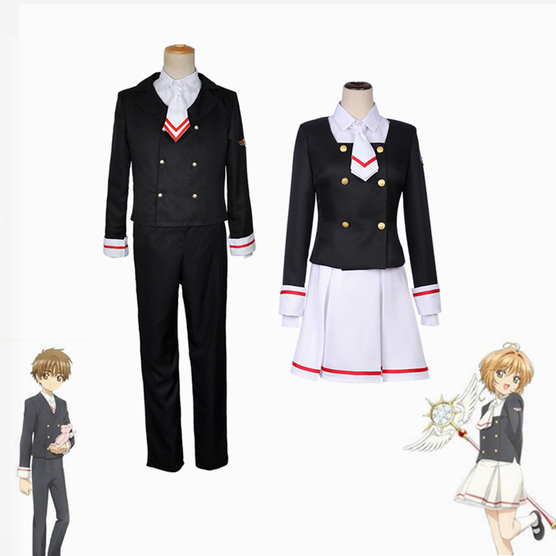 Cardcaptor Sakura CLEAR CARD Kinomoto Sakura Li Syaoran Junior High School Uniform Tops Dress Coat Pants Outfit Cosplay Costumes