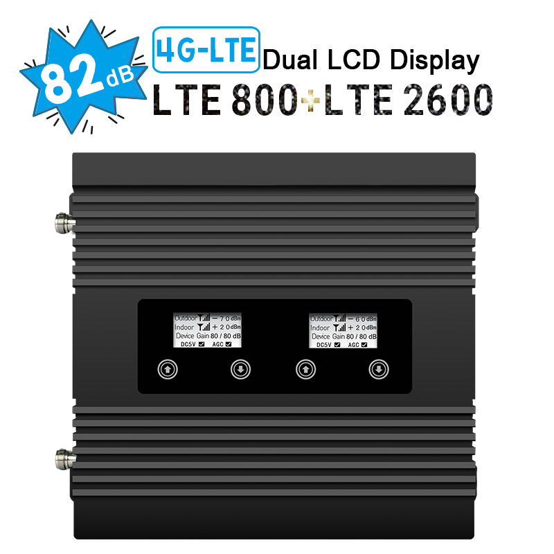 Walokcon 4G LTE 800 2600 Cellular Signal Booster 82dB Gain Band 7 Band 20 4G LTE 800 2600 Signal Repeater LCD Display Amplifier