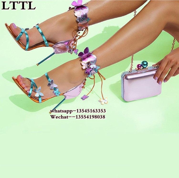 2018 Butterflies Embellished Leather Women Sandals Ankle Strap Lace Up Thin High Heels Party Shoes Woman Purple/Black Size 34-42 lace up cross strap lady rhinestone sandals suede woman thin heels crystal embellished lady sandals party dress high heels shoes