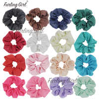 Furling Girl  1PC Summer Style Gold Stud Chiffon Scrunchies Hair Ring Hair Scrunchies Ponytail Holder Elastic Rubber Hair Tie