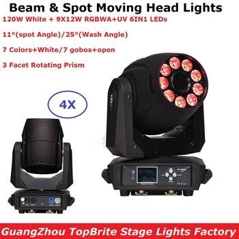 LED 스팟 워시 라이트 고품질 1X120W 주도 9X12W RGBWA-UV 6IN1 LED 이동 헤드 워시 조명 3면 프리즘 LED Dj 조명