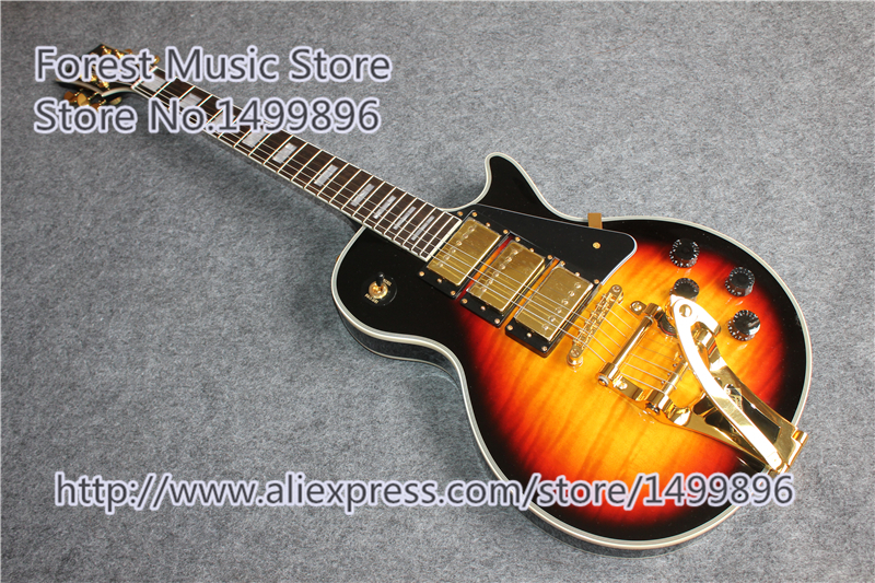 New Arrival Vintage Sunburst Finish LP Custom Electric Guitars China Left Handed Guitar Custom Available new arrival chinese left handed 6 string electric bass guitars with metallic blue finish for sale