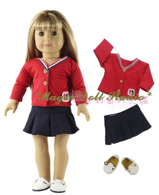 [AM099] 2017 Free Shipping 18 inch American Girl Doll Outfits # Red School Suit Fit for 18