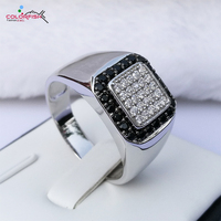 COLORFISH Solid 925 Sterling Silver Men Rings Round Clear Black Cz Zirconia Finger Ring Wedding Men Jewelry Fashion Male Ring