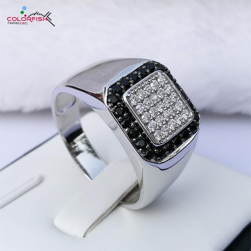 Kolorystyka stałe 925 Sterling Silver mężczyzn pierścienie okrągłe jasne czarny Cz cyrkonia palec pierścień ślub mężczyzn biżuteria moda mężczyzna pierścień w Pierścionki od Biżuteria i akcesoria na  Grupa 1