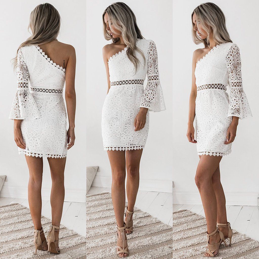 Lace White   Cocktail     Dresses   Cheap Straight One-shoulder White Short Party Gowns Sexy New Arrival Vestidos Coctel Mujer 2019