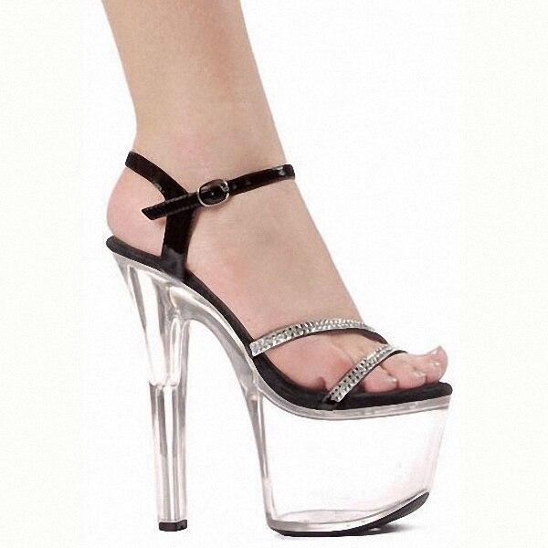 Hot Promotion Sexy 17cm Wedding Shoes Women Pole Dancing 7 Inch Platform High Heels Rhinestone High Heel Shoes promotion women