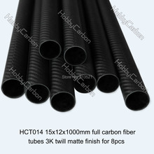 HCT014 high quality 8pcs/pack 15X12X1000mm full carbon fiber tubes 3K twill matte
